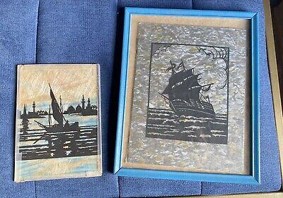 Pair of Vintage Nautical Scherenschnitte Cut Paper Art Ships Intricate design