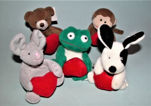 Russ Berrie plush 5pc. set Valentine mouse, dog, frog, monkey & bear with hearts