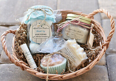 Milk Spa Gift Set (Natural Custom Spa Gift Basket Set-Bathbombs-Lip Balm-Goat Milk Soap-Sugar Scrub )