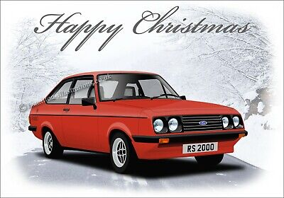 Ford Escort Mk2 RS2000 Dad Son Classic Car  Christmas Greetings Card  2000 Greetings Cards