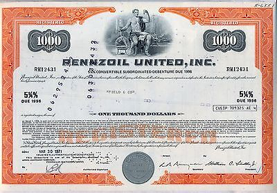Pennzoil United Bond Certificate Stock Oil Gas Nascar Racing