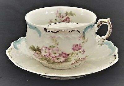 (Mustache CUP & SAUCER, porcelain, Germany, Weimar, gilt, rose,  c1900, 6