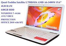 """Quad-Toshiba Satellite L750D/034 AMD A6-3400M 15.6"""" 4GB RAM 640GB St Marys Penrith Area Preview"""