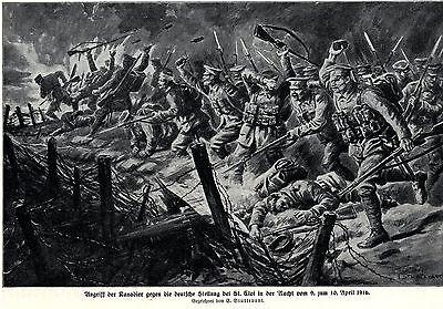 1916 St.Eloi: Angriff der Kanadier gegen die deutsche Stellung * antique print