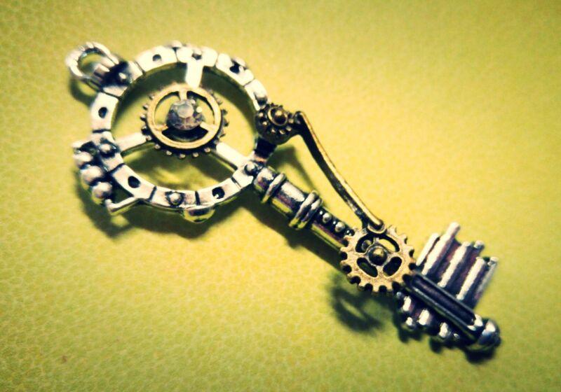 Steampunk Skeleton Key Gear Pendant Unique Antiqued Silver Gold