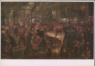 Alte Kunstpostkarte - Das Eisenwalzwerk von Adolph Menzel