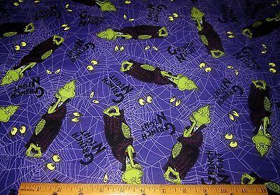 1 yard GRINCH NIGHT on PURPLE 100% Cotton Fabric SPOOKTACULAR DR SEUSS HALLOWEEN (Dr Seuss Halloween)