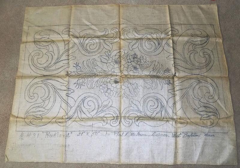 Vintage Pearl McGown Burlap Rug Hooking Pattern Rockland 28 x 50 #431