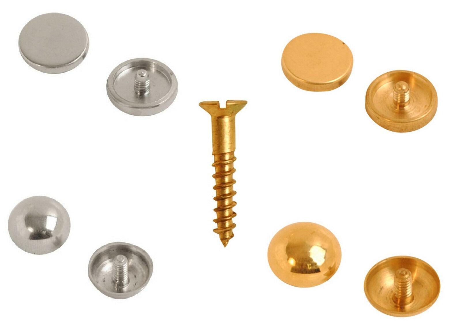 "Brass Mirror Screws Chrome / Brass Discs, Domes or Caps 1"" t"