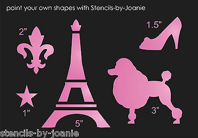 Stencil Chic Paris Eiffel Tower French Poodle Dog Pet Fleur Shabby Dress Shoe