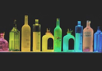 Led Glassware (4' LIGHTED LIQUOR BOTTLE DISPLAY / GLASSWARE BEHIND BAR SHELF REMOTE COLOR LED)
