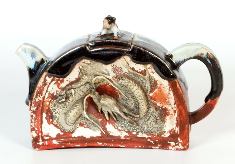Antique Japanese Sumida Gawa Pottery Teapot with Dragon and Boy Signed