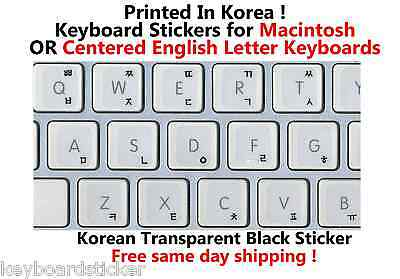 Korean Black Transparent Keyboard Sticker for Mac or Centered Windows keyboards for sale  Shipping to India