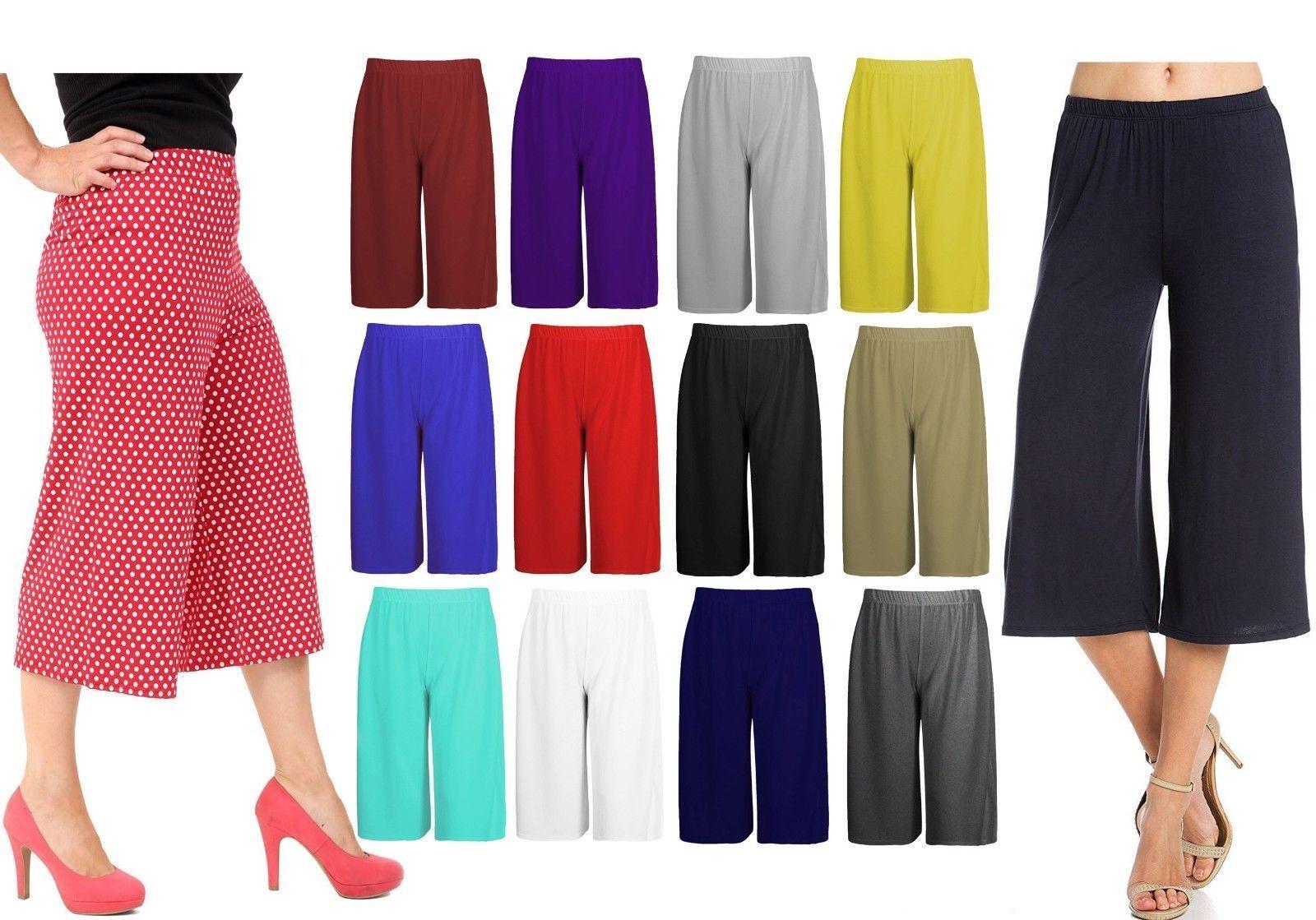 Damen Weites Bein Plazzo 3/4 Kurze Hosen Lässige Damen Locker Caprihose