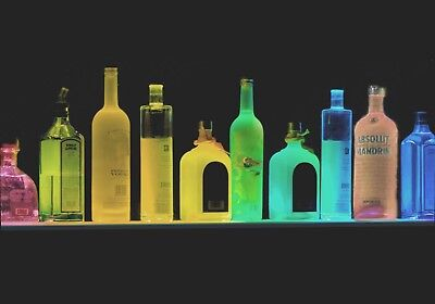 Four Feet Long Lighted Liquor Bottle Display -color Led Remote Ctrl Ultra Thin