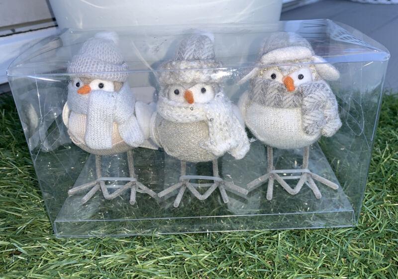 Target Wondershop  Mini Winter Birds 3pk Neutral Fabric Figurines New 2021