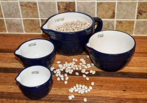 NWT Dark Blue farmhouse ceramic nesting batter bowl farmhouse measuring cups