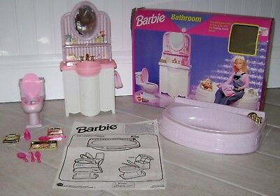 Barbie Bathroom 1996 Pretty House Pink Complete MIB