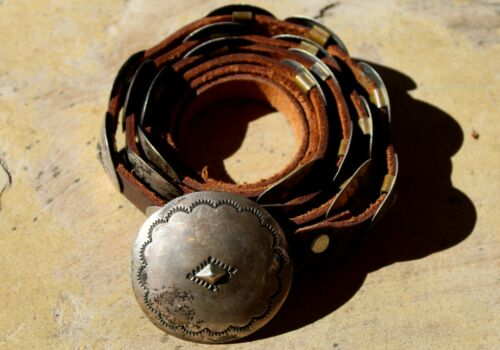 Old PK Work Abaiyachi Choctaw Sterling Silver Concho Belt 21 Conchos & Buckle