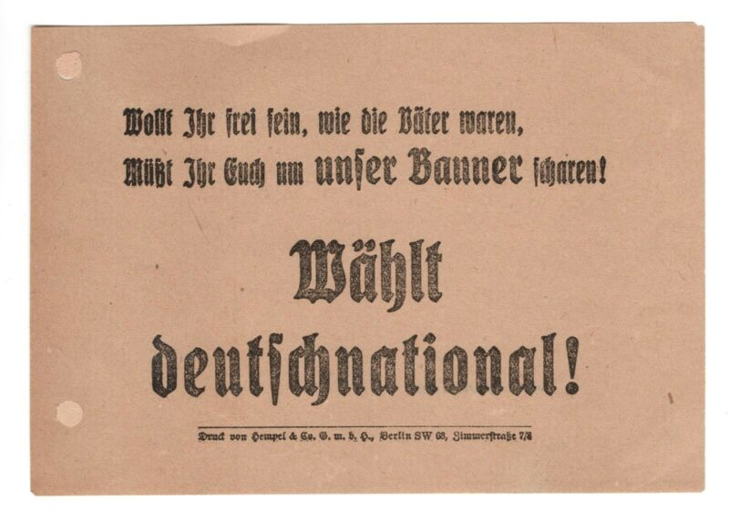 GERMANY 1924 VOTE GERMAN NATIONAL PARTY ELECTION FLYER