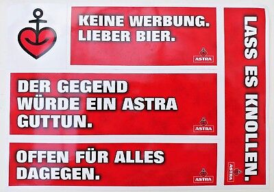 Astra Bier Aufkleber 5 Motive Sticker Herz Anker Hamburg St. Pauli Beer Werbung