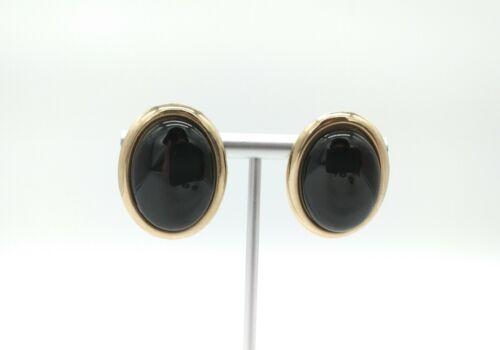 Vintage Gold Tone Metal Black Acrylic Cabochon Pierced Clip Earrings