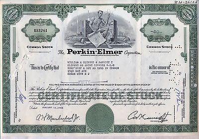 Perkin-Elmer Corporation Stock Certificate New York