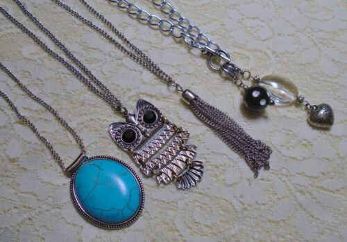 ASSORTED SILVER TONE PENDANT LONG CHAIN NECKLACE LOT OWL TASSEL