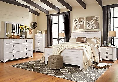 Ashley Furniture Queen Bedding - Ashley Furniture Willowton Queen 6 Piece Panel Bed Set