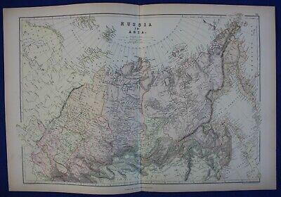 RUSSIA IN ASIA, SIBERIA, KAMCHATKA, original antique atlas map, Weller, 1884