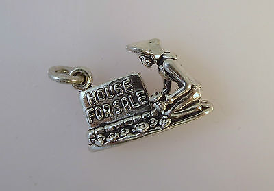 925 Sterling Silver House For Sale Charm Women Realtor Garden Sign New 925 Hm02