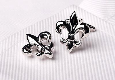 Lis Cufflinks Cufflinks (Silver Chrome Fleur-De-Lis Cuff Links Men's Cufflinks Mardi Gras Saints Jewelry )