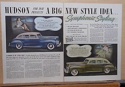 1940 two page magazine ad for Hudson - 1941 Commodore, Six, Symphonic Styling