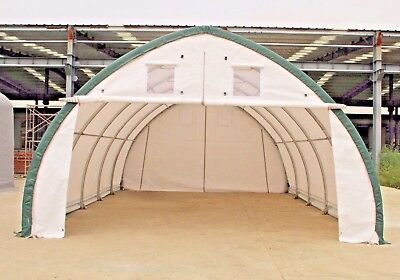 20x30x12 Canvas Fabric Building Shelter W Metal Frame Camper Boat Storage New