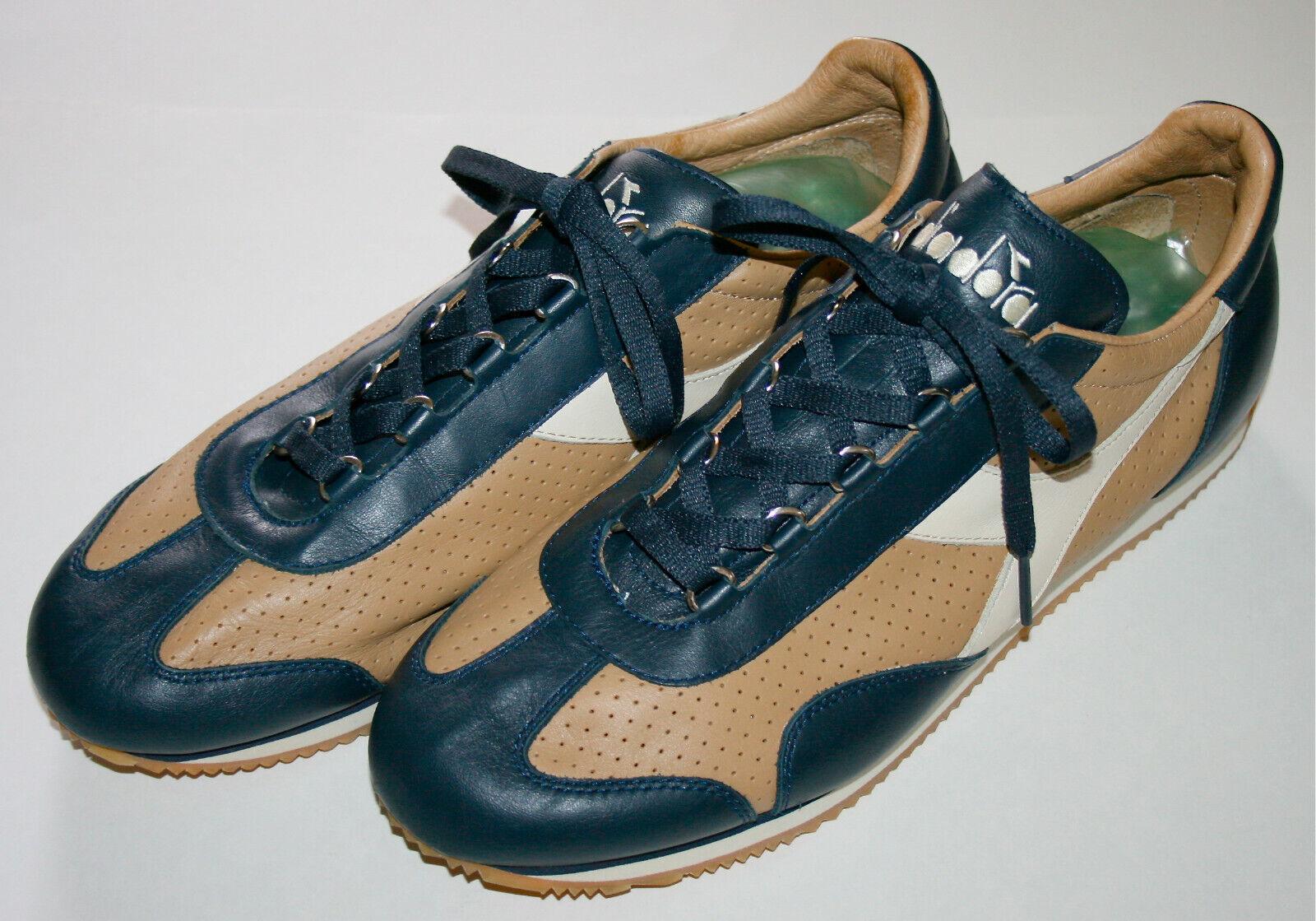 Diadora Leather Shoes Sneaker US12  UK11.5  EUR46 Tan/Navy