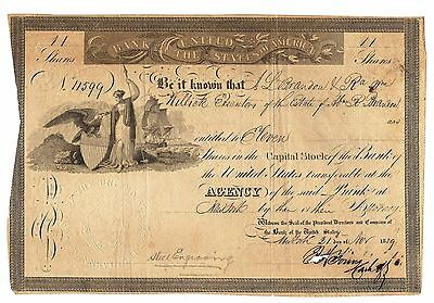 RARE Historic 1839 Bank of the United States of America Share Certificate