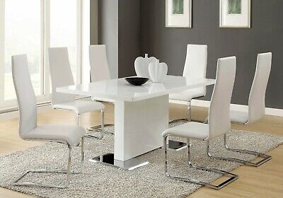 Modern 5-Piece Dining Set White Lacquer Finish & White Faux Leather Side Chairs