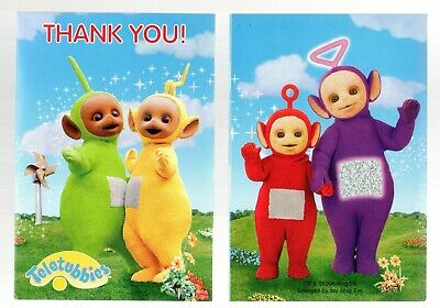 Vintage Teletubbies Thank You Note Cards 6 Ct Birthday Party 1998 Ragdoll Amscan Rag Doll Note Cards