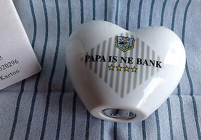 große Spardose Herz Porzellan Weiß Sparen Geld Sparschwein-Büchse Schloß 16 Papa