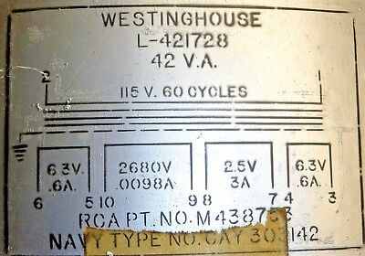 21F69  Filament Transformer THORDARSON  115V IN//50-60 CPS  SEC 5V//6.3V 2 AMP NOS
