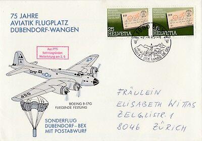 Boeing B -17 G Fliegende Festung Sonderflug mit Postabwurf 1985 Dübendorf gebraucht kaufen  Bad Reichenhall