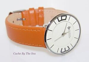 T1923 Silpada Orange Leather Stainless Steel Round Face Retired Watch