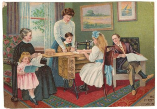 "Victorian Trade Card "" The First Lesson "" Singer Sewing Machines 5 Drawer Table"