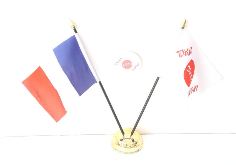 France & Tokyo Japan Olympics 2020 Desk Flags & 59mm BadgeSet