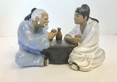 Vintage 1953 Signed Chinese Ceramic Mudmen Sharing a Drink