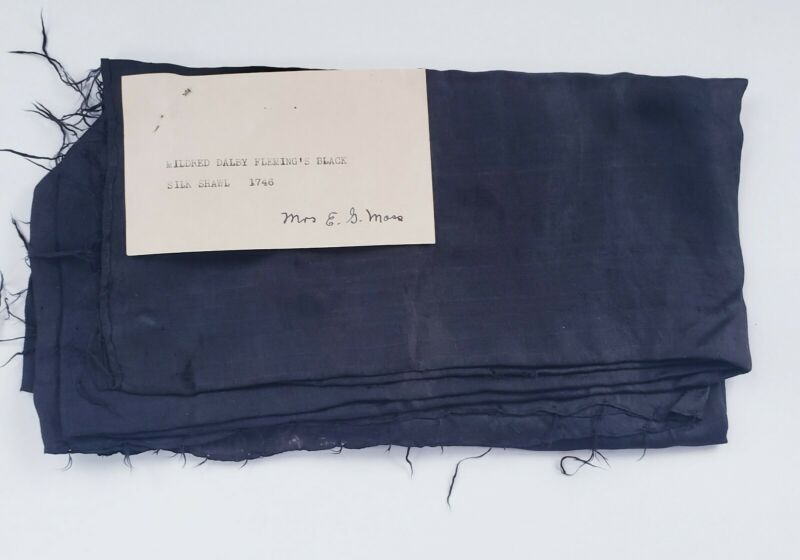 1746 Black Silk Shawl, 18th century Silk Shawl w/ American Provenance