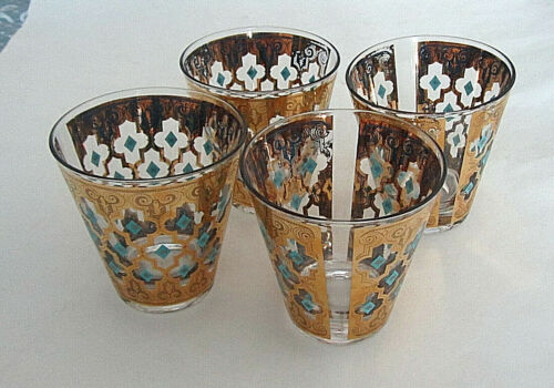 4 Culver Seville OLD FASHIONED ROCKS GLASSES Gold & Turquoise barware