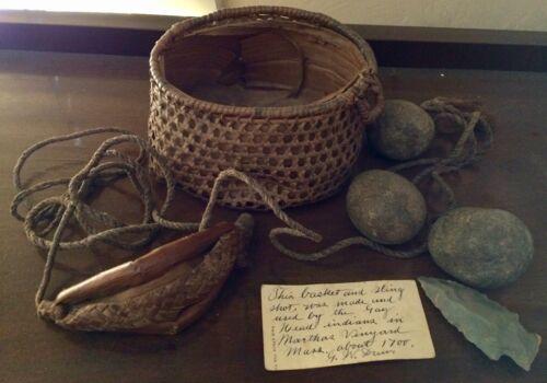RARE Colonial Gay Head Aquinnah Indian Sling, Basket, & Ammo, c 1700, Provenance