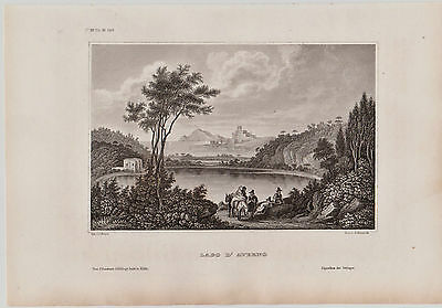 Italien, Italy - Lago D' Averno. - Stich - Stahlstich v. Reiss / Metzeroth 1850