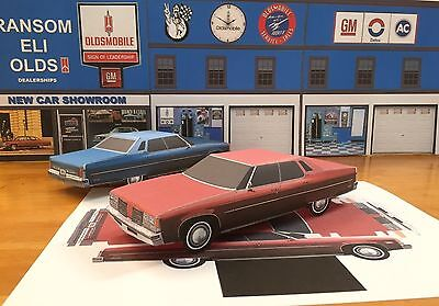 PAPERCRAFT Oldsmobile 98 Regency 4 dr Hardtop RED paper model car EZU-make 1976